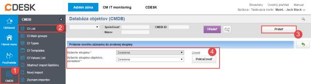 Pridanie objektu do CMDB
