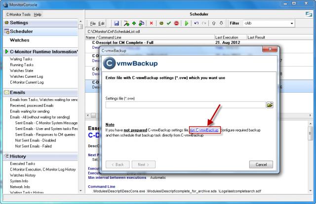 Vstup do nastavenia konfiguračného súboru pre zálohovanie