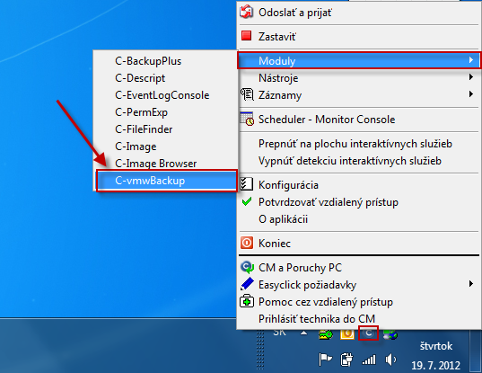 Vstup do VMware modulu cez Tray menu C-Monitor ikonky