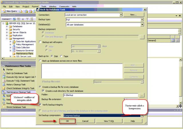 Nastavenie zálohovania - označenie možnosti pre verifikáciu záloh