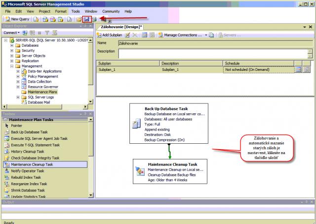 Zálohovanie a automatické mazanie starých záloh je nastavené, kliknite na tlačidlo uložiť