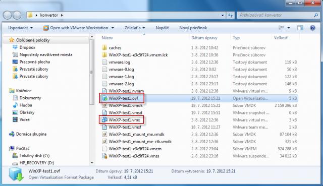 Spustenie VM vo VMware Workstation spravíte otvorením súboru s koncovkou .ovf  ( v prípade že by import neprebehol úspešne vyskúšajte druhý spôsob, spustením súboru s príponou .vmx)