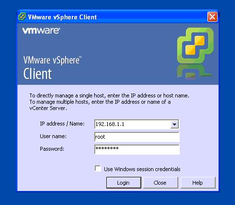 Pripojíte sa na ESX server prostredníctvom vSphere klienta