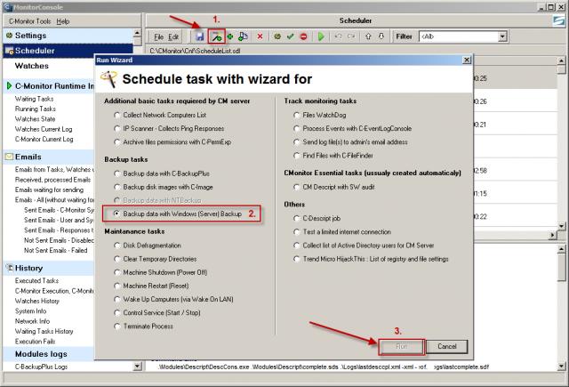 Spustenie wizarda pre nastavenie zálohovania Windows backup
