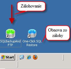 Ikonky na loche pre nastavenie a obnovu SQL databáz
