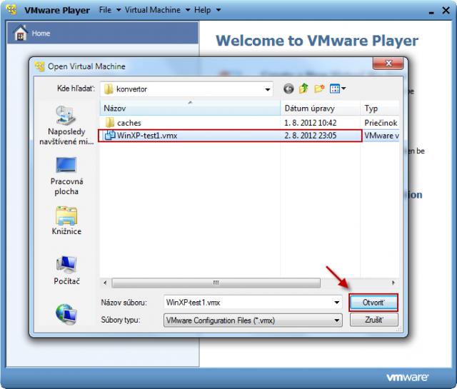 Zadáte cestu pre otvorenie VMware konfiguračného súboru