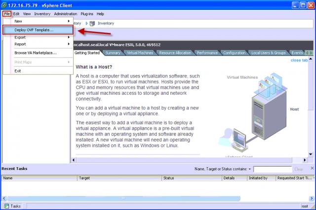 Vstup do obnovy VM pomocou OVF deployment cez horné menu