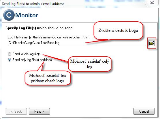 Nastavenie cesty k logu a voľba či sa bude zasielať celý log na email alebo len jeho zmeny