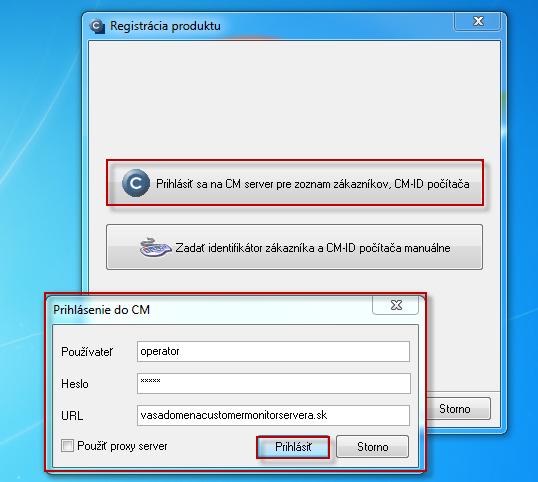 Prihlásenie na CM server pre výber zákazníka pod ktorým chcete PC zaregistrovať