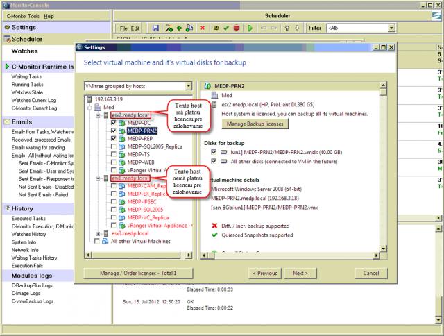 Priraďovanie licencií podľa hostov - pre virtuálne stroje, ktoré svietia na červeno nieje priradená licencia na zálohovanie, pre virtuálne stroje, ktoré nesvietia na červeno je vygenerovaná a priradená licencia pre zálohovanie