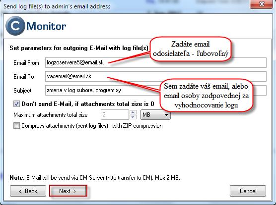 Nastavenie emailu príjemcu