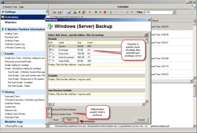 Výber partícií pre zálohovanie, treba vybrať všetky partície na, ktorých sú súbory potrebné pre fungovanie Exchange servera