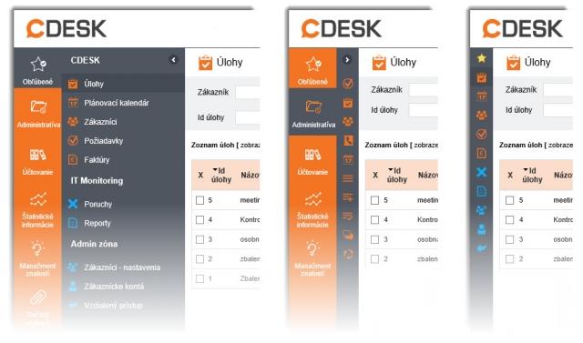 Nové menu - 1.Plná veľkosť 2.Zbalený režim 3.Zbalené Obľúbené