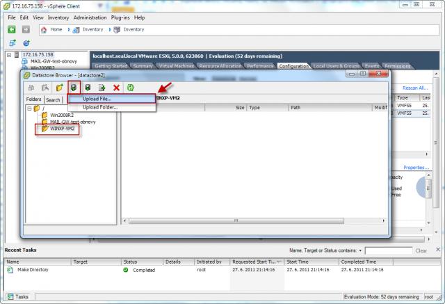Do tejto zložky pomocou horného menu nakopírujete všetky .vmdk, .vmx a .vmxf súbory