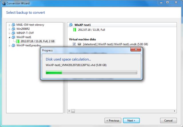 Po kliknutí na tlačidlo next sa automaticky prepočíta potrebné miesto na disku