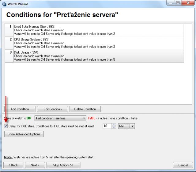 Podmienky watchu preťaženia servera