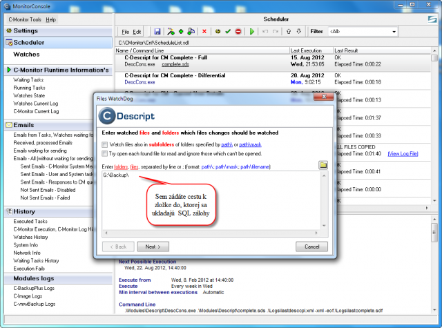 Nastavenie cesty k zložke, do ktorej sa ukladajú SQL zálohy