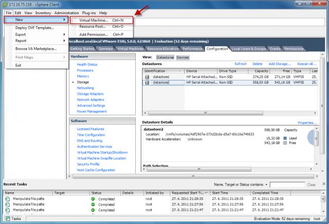 Cez horné menu alebo pomocou klávesovej skratky Ctrl + N spustíte sprievodcu pre vytvorenie novej VM