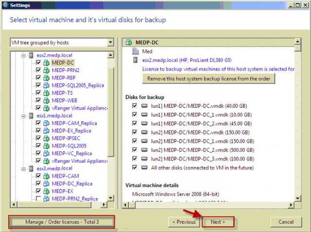 Pre všetky hosty je úspešne vygenerovaná a priradená licencia pre VMware zálohovanie