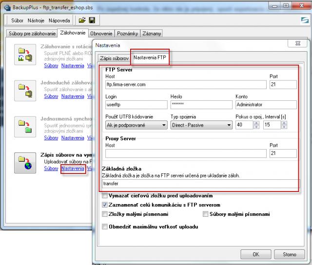 Záložka v C-Backup pre nastavenie prenosu FTP