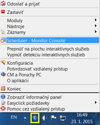 Otvorenie Monitor Console z lišty