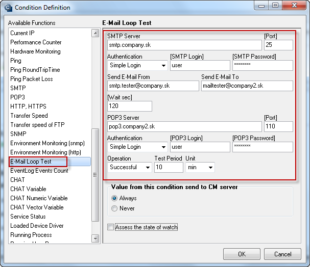 Obrázok: SMTP E-Mail looping test