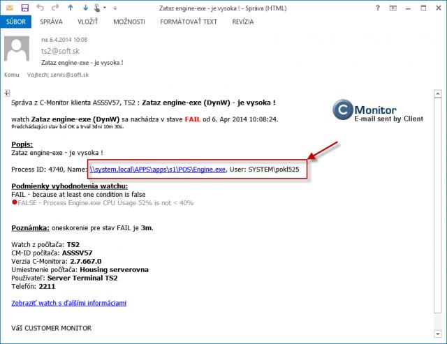 Príklad správy z C-Monitora z Watch-u na sledovanie preťaženia aplikácie, kde je uvedené konkrétne umiestnenie a používateľ, ktorý spôsobil preťaženie.