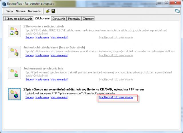 Spustenie naplánovania FTP prenosu cez C-Backup