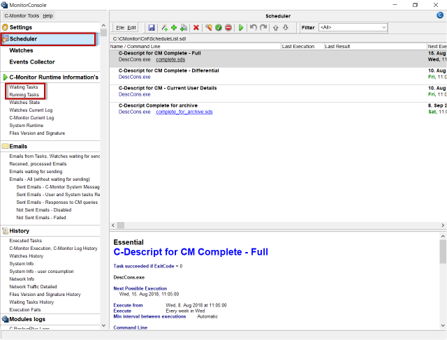 Obrázok 3 – C-MonitorConsole, časť Scheduler – verzia 2.9.721.0