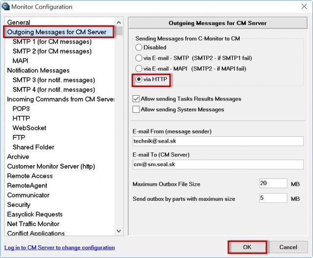 Obrázok 5 - Nastavenie komunikačného portu cez C-Monitor
