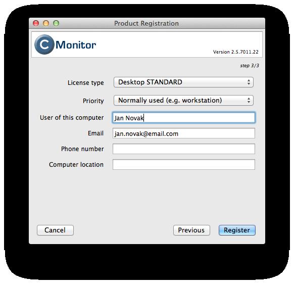 Doplňujúce položky pre registráciu PC