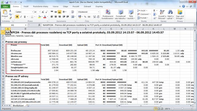 Export prenesených dát podľa aplikácií do excelu