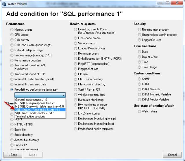 Výber šablóny k meraniu obsadenia RAM, počet operácií Page splits /sec, počet aktívnych SQL spojení.
