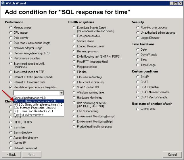 Výber šablóny v sprievodcovi Watches v C-MonitorConsole pre meranie odozvy s príkazom timestamp