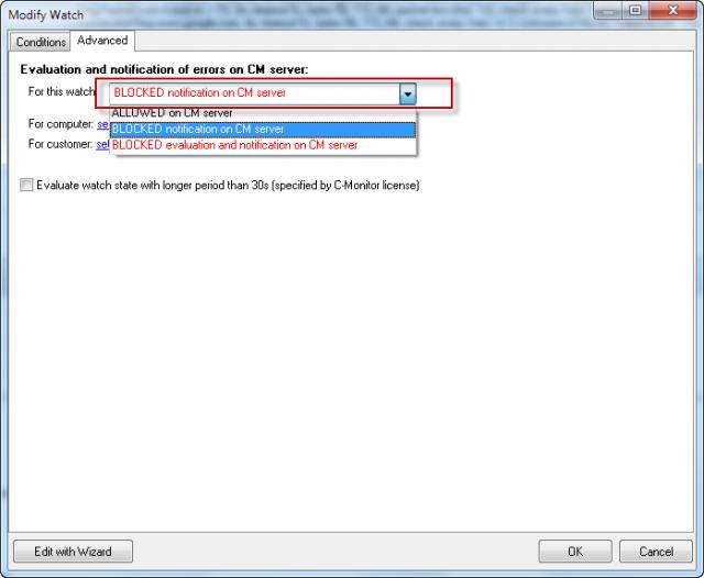 Zablokovanie posielania (nežiadúcej) notifikácie pri zmenách Watchu - záložka Advanced vo Watch-i.
