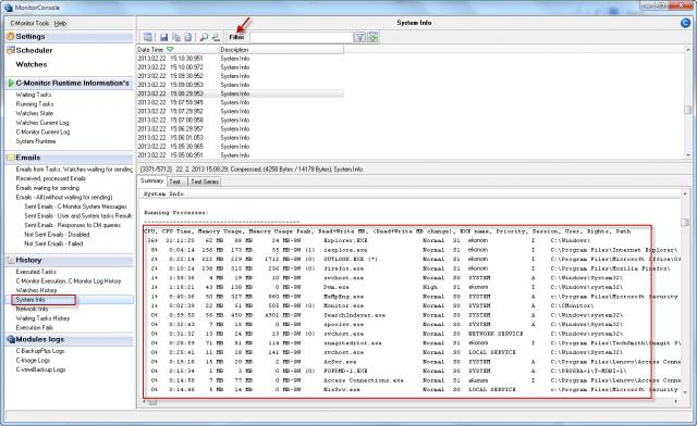 Prehľad spustených procesov cez uloženú krátkodobú históriu v System Info v C-MonitorConsole