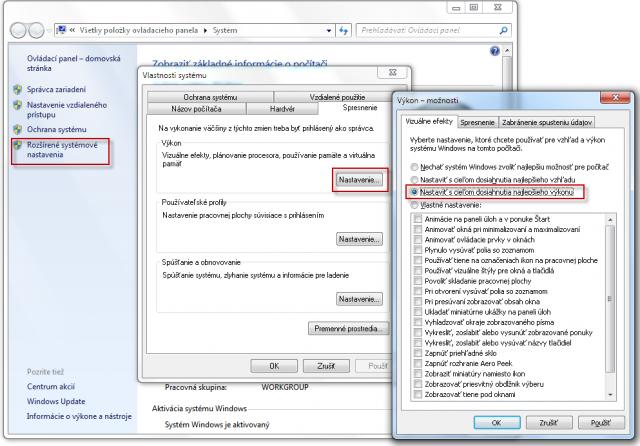 3. možný spôsob opravy zobrazovania menu - zmenou nastavenia vo Vlastnostiach operačného systému