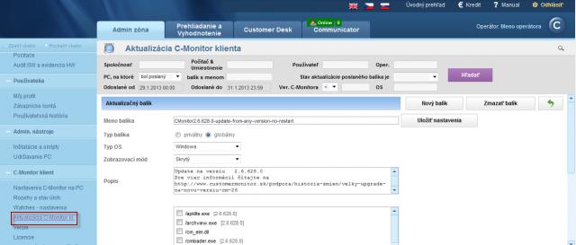 Príklad rozposlania aktualizačného balíčku na vybrané počítače