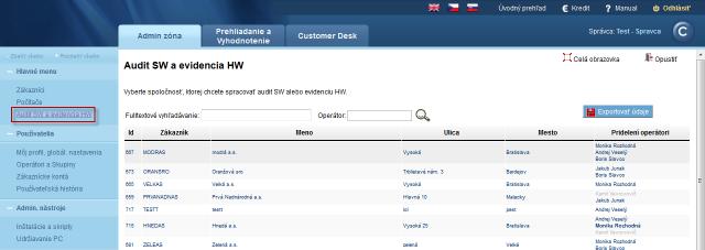 Zoznam zákazníkov v Audit SW a evidencia HW