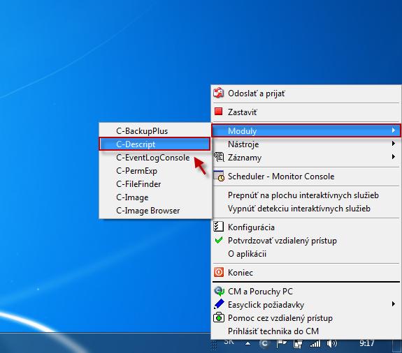 Autodescript spúštací súbor sa vytváre caz tray ikonu C-Monitora -> časť moduly -> C-Descript