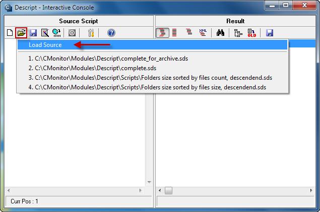 Po otvorení C-Descriptu zvolíte možnosť otvoriť a kliknete na Load source