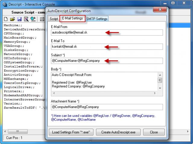V sprievodcovi vytvárania autodescript súboru si v záložke e-mail settings zvolíte email odosielateľa - môže byť ľubovolný, email prijímateľa a predmet správy