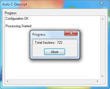 Spustenie autodescript.exe súboru a jeho priebeh
