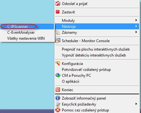 Vstup do Utility IP scanner cez C-Monitor ikonku