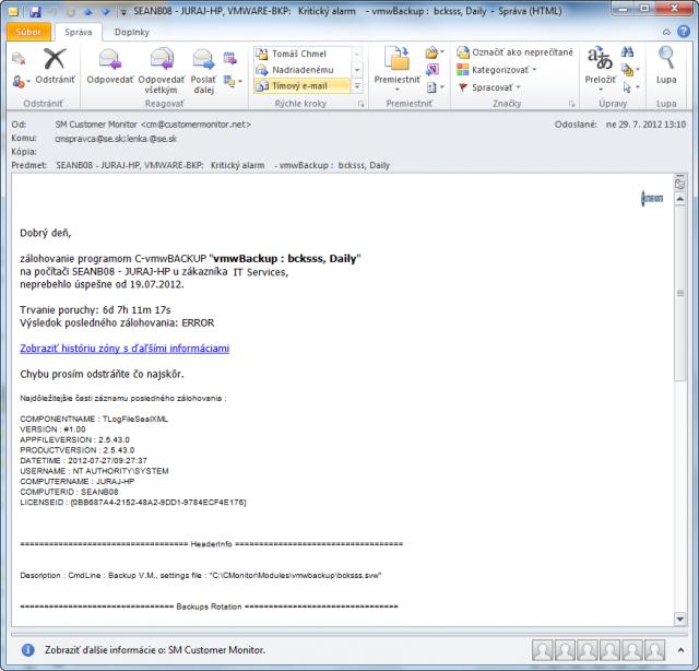 Email o neúspešnom VMware zálohovaní vygenerovaný všetkým zainteresovaným osobám