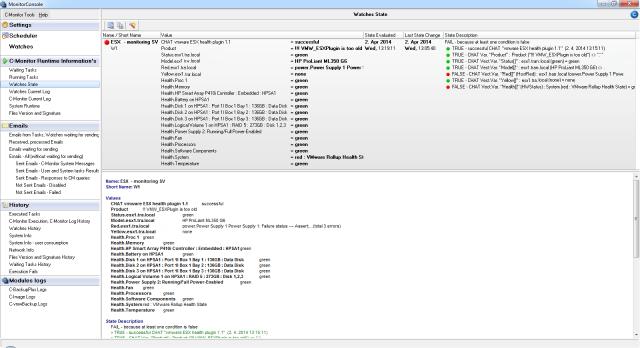 Zobarazenie aktuálneho stavu watchu cez C-Monitor klienta