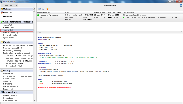 Zobrazenie stavu Watchu cez C-Monitor klient console