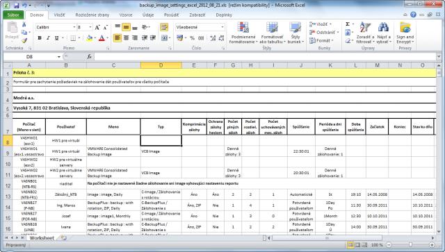 Report - Nastavenie Zálohovania a Image (Excel)