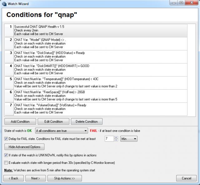 Sledované parametre pre QNAP