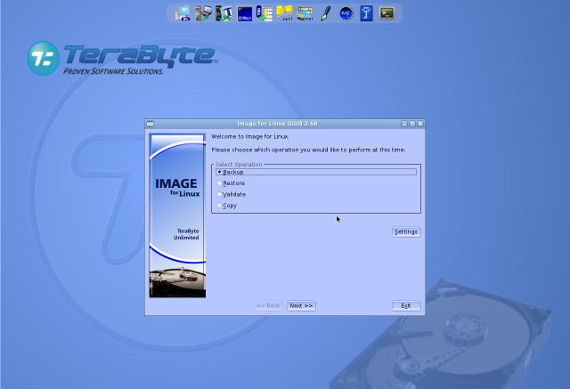 Úvodná obrazovka po nabootovaní Image For Linux z CD (USB)